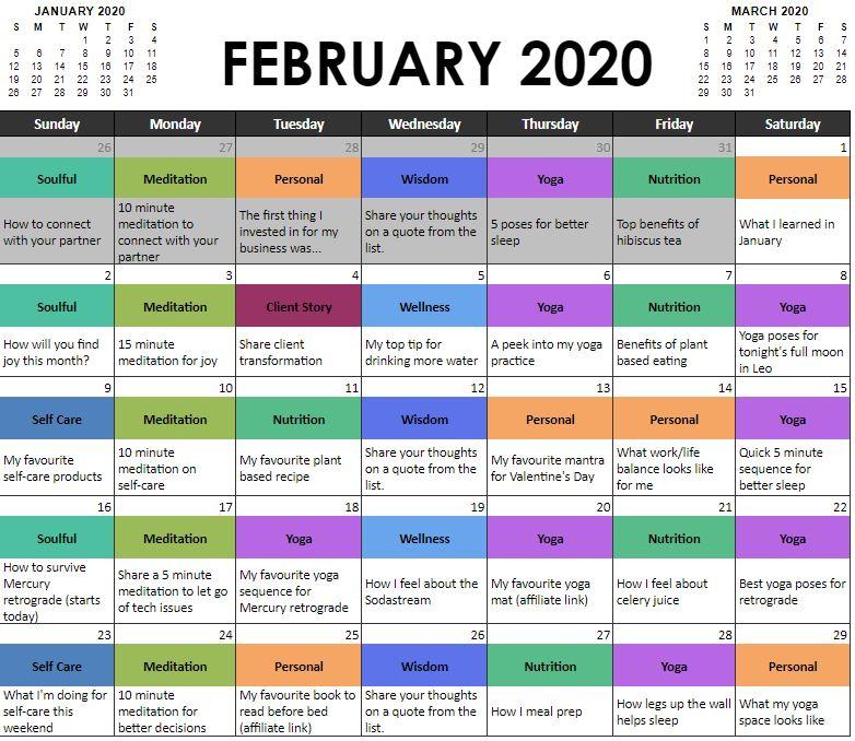 February Content Marketing Calendar for Yoga Teachers